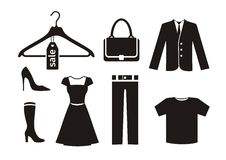 Clothes icon set in black Stock Photography