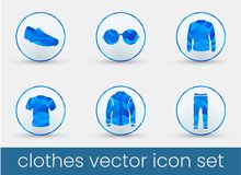 Clothes Icon Set blue vector illustration