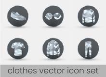 Clothes Icon Set dark stock illustration
