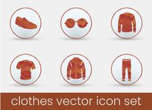 Clothes Icon Set red royalty free illustration