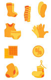 Clothes icons. Vector bright orange clothes and underwear  icons Royalty Free Stock Images