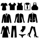 Clothes icons. Clothes icon set in black Royalty Free Stock Photo