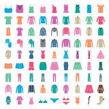 Clothes icons. Icons women fashion clothes Royalty Free Stock Image