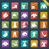 Clothes icons. Set of 25 clothes icons Royalty Free Stock Images