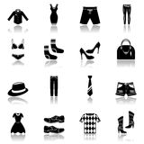 Clothes icons set black Stock Photography