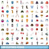 100 clothes icons set, cartoon style. 100 clothes icons set in cartoon style for any design illustration vector illustration