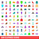 100 clothes icons set, cartoon style Royalty Free Stock Photography