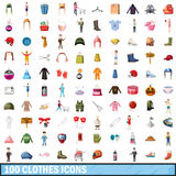 100 clothes icons set, cartoon style. 100 clothes icons set in cartoon style for any design vector illustration Stock Images