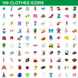 100 clothes icons set, cartoon style. 100 clothes icons set in cartoon style for any design vector illustration stock illustration