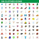 100 clothes icons set, cartoon style. 100 clothes icons set in cartoon style for any design illustration royalty free illustration