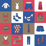 Clothes icons set flat line Royalty Free Stock Images