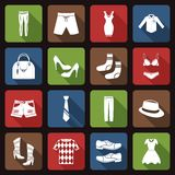 Clothes icons set flat Stock Image