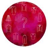 Clothes icons set on garnet gem Stock Image