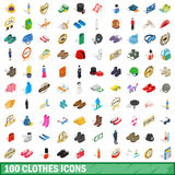 100 clothes icons set, isometric 3d style Royalty Free Stock Photo