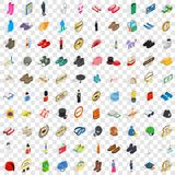 100 clothes icons set, isometric 3d style. 100 clothes icons set in isometric 3d style for any design vector illustration Stock Photos