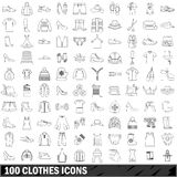 100 clothes icons set, outline style. 100 clothes icons set in outline style for any design vector illustration Royalty Free Stock Photos