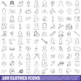 100 clothes icons set, outline style. 100 clothes icons set in outline style for any design vector illustration Stock Photo