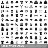 100 clothes icons set, simple style. 100 clothes icons set in simple style for any design vector illustration vector illustration