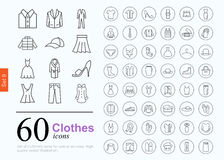 60 clothes icons Royalty Free Stock Photos