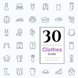 30 clothes icons Royalty Free Stock Photos