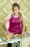 Clothes iron vintage woman retro housewife humor. Wallpaper background Royalty Free Stock Photo
