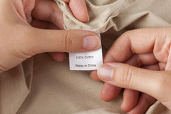 Clothes label. 100% cotton. Made in China Royalty Free Stock Photos