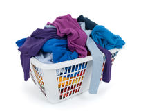 Clothes in laundry basket. Blue, indigo, purple. Royalty Free Stock Photography