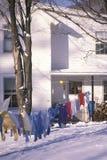 Clothes on laundry line in snowy yard, Woodstock, NY Stock Photos