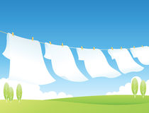 Clothes Line. Colored clothes and natural landscape Royalty Free Stock Image