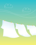 Clothes Line. Colored clothes and natural landscape Stock Images