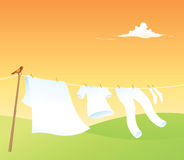 Clothes Line. Colored clothes and natural landscape Royalty Free Stock Photography