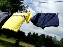 Clothes on the line stock photos