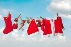 Clothes line for christmas Royalty Free Stock Photo