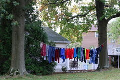 The Clothes on the line. We do not see clothes on the line too much in this day and age Royalty Free Stock Images