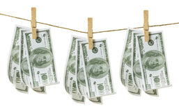 Clothes Line with Dollar Notes Royalty Free Stock Image