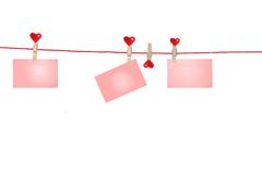 Clothes-Line for hearts Stock Image