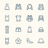 Clothes line icon set Royalty Free Stock Photography