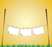 Clothes line illustration. Yellow background Royalty Free Stock Photo