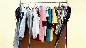Clothes line stock video