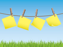 Clothes line with memo notes Stock Image