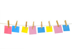 Clothes Line and Pins Holding Shapes for Text Stock Photo