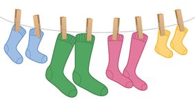 Clothes Line Wool Socks Family Colors Stock Images