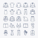 Clothes linear icons Stock Photo