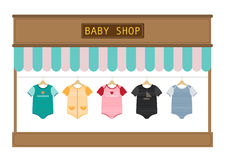 Clothes for little boys and girls in store,Vector illustratons Stock Photography