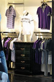 Clothes for man. Showing in a clothing store, casual and t-shirt dress Royalty Free Stock Image
