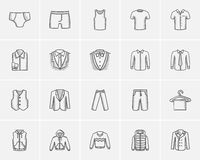 Clothes for men sketch icon set. Royalty Free Stock Photos