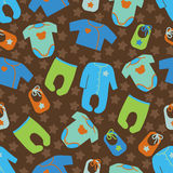 Clothes for newborn baby boy seamless pattern. Royalty Free Stock Images