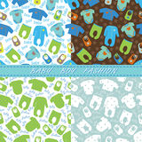 Clothes for newborn baby boy seamless pattern set Stock Image