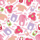 Clothes for newborn baby girl seamless pattern. Stock Photography