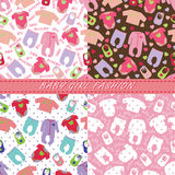 Clothes for newborn baby girl in seamless pattern set vector illustration